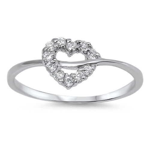 Women/'s Heart White CZ Promise Ring New .925 Sterling Silver Band Sizes 4-10