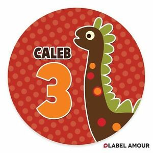 PERSONALISED-Dinosaur-Birthday-Party-Sticker-Seals-Labels-4-Sizes-006