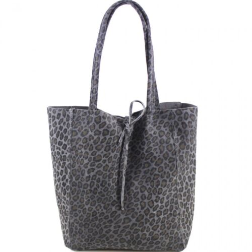 Real Suave Cuero Italiano Hobo Bolso de Toto Shopper Slouch Leopardo Animal Diseño