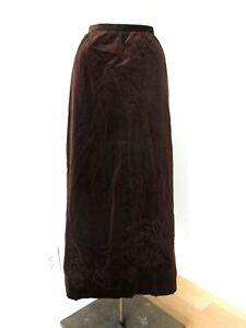 Vtg-70s-mink-brown-velvet-maxi-disco-skirt-embroidered-puff-flower-pockets-28-in