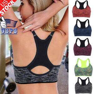 US-Women-Yoga-Sports-Bra-Fitness-Stretch-Workout-Seamless-Padded-Bounce-Control