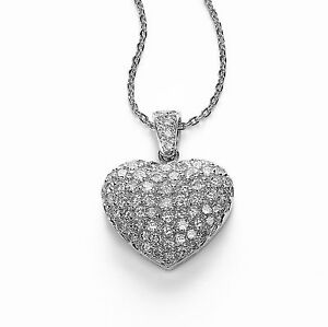 14Carat-White-Gold-amp-Diamond-Pave-Set-Puffed-Heart-Pendant-0-50cts-16-034-Chain