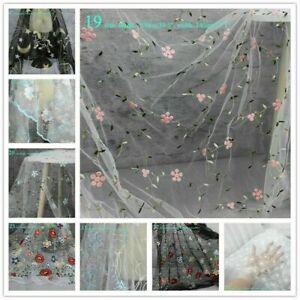 1M-Hochzeit-Kleid-Stoff-Blumen-Spitze-Netz-Stickereien-Kostuem-Tuch-DIY-Basteln