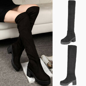 Women's Casual Pull On Thick Heel Platform Tall Boots