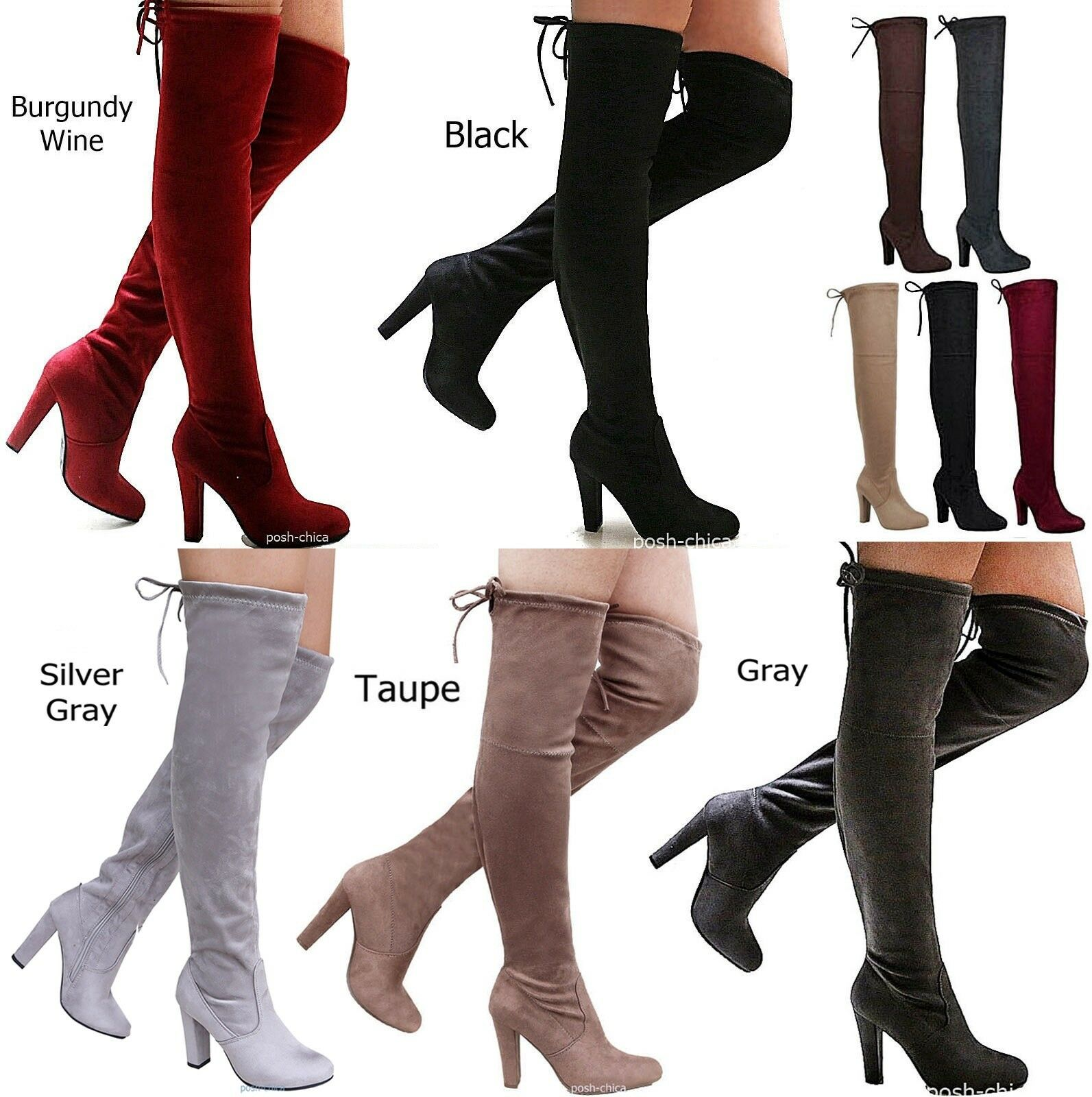 New Women FDs Stretchy Over the Knee Thigh High Chunky Heel Drawstring Boot 5-11