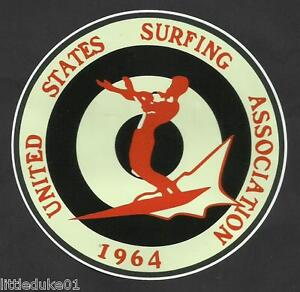 1964-UNITED-STATES-SURFING-ASSOC-Surfboard-Sticker-Decal-LONGBOARD-Surfing