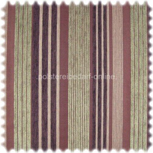 AKTION Flachgewebe Chenille Streifen Livorno Violett Beigegrau