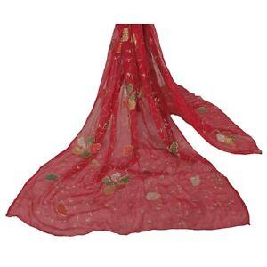 Sanskriti-Vintage-Dupatta-Long-Stole-Chiffon-Silk-Red-Scarves-Hand-Beaded-Veil