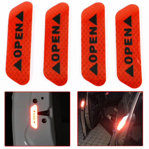 4x Super Red Car Door Open Sticker Reflective Tape Safety Warning Door Decal