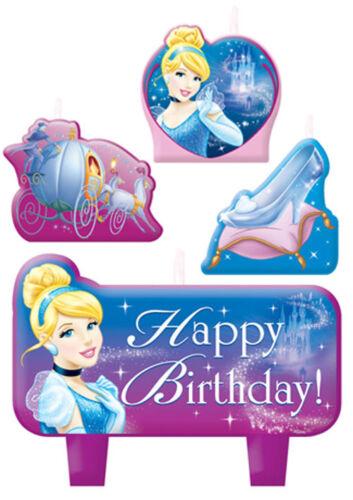 4pc ~ Birthday Party Supplies Decoration CINDERELLA SPARKLE MINI CANDLE SET