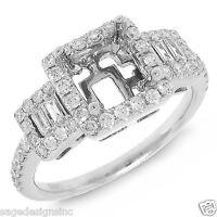 18k White Gold 6.5x6.5mm Princess Semi Mount Diamond Engagement Ring Setting