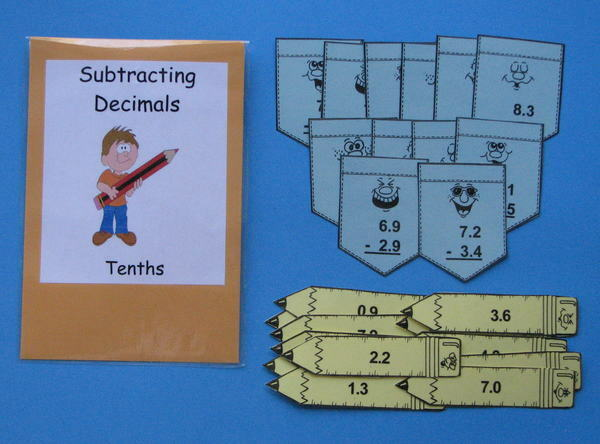 Teacher Made Math Center Resource Game Subtracting DecimalsTenths