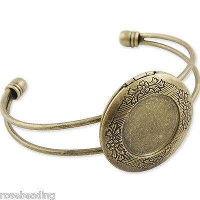 5PCS Antique Bronze With 32MM Photo Locket Adjustable Cuff Bracelet Blank C1788