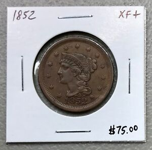 1852-U-S-BRAIDED-HAIR-LARGE-CENT-XF-CONDITION-2-95-MAX-SHIPPING-C806