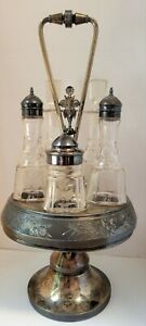 Antique Rotating Derby Silver Co. Quadruple Plate Silver Compote Cruet 6 pc.Set