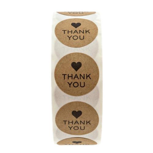 500 gracias con Corazón Pegatinas Sellos Scrapbook hágalo usted mismo Craft Boda Favores RR