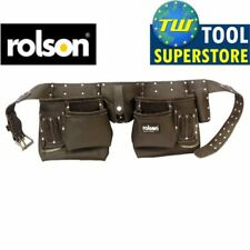 Rolson Heavy Duty 10 Pocket Professional Double Pouch Tanned Leather Tool Belt