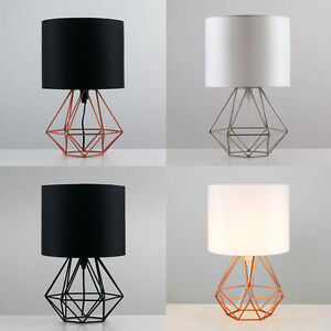 Image is loading Geometric-Retro-Style-Wire-Cage-Table-Lamps-Bedside-