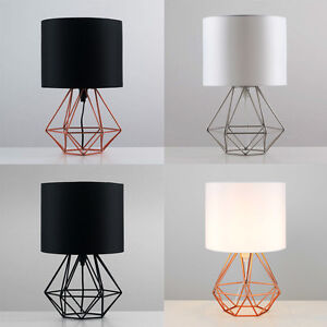 Image Is Loading Geometric Retro Style Wire Cage Table Lamps Bedside
