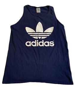 Adidas Sleevess Top Mens Size Medium Blue With White Trefoil Leaf ...