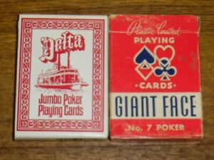 Two Vintage Decks Of Playing Cards - Arrco Giant Face #7 & Sealed Delta Jumbo
