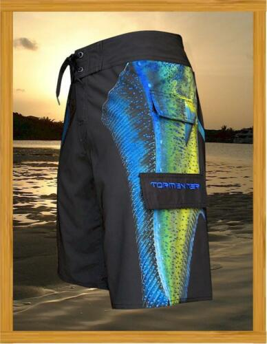 "Tormenter Men/'s /""Side To/"" Mahi Mahi 4X4 8 Way Stretch Board Shorts"