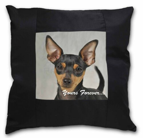 AD-MP1y-CSB Miniature Pinscher /'Yours Forever/' Black Border Satin Feel Cushion