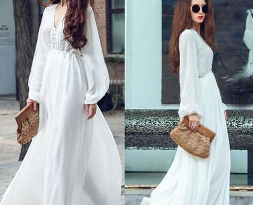 Women Summer Boho Long Sleeve Maxi Dresses Evening Party Beach White Sundress
