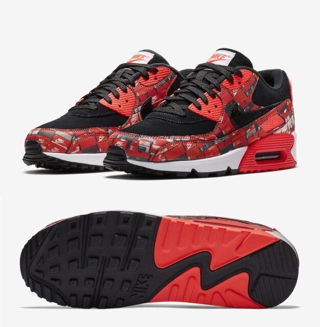 Size 11 Men's Nike AIR MAX 90 PRINT AQ0926 001 LOVE NIKE black red sneakers 95