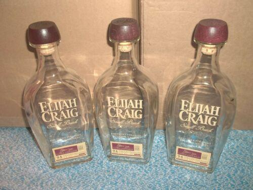 Lot of 3 Empty Elijah Craig Small Batch 1789 Kentucky Straight Bourbon Bottles