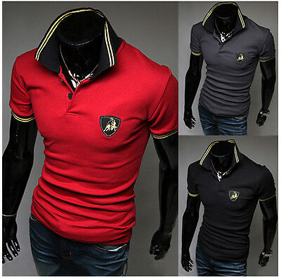 Hot Casual Shirts Mens Stylish Casual Slim Fit Short Sleeve Polo Shirt T-shirts