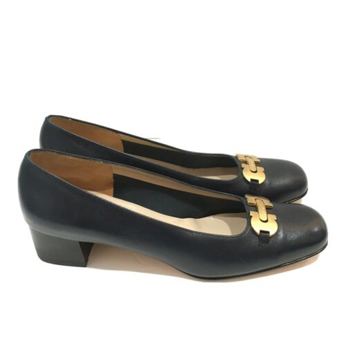 Salvatore Ferragamo Boutique Black Gold Heels Shoe