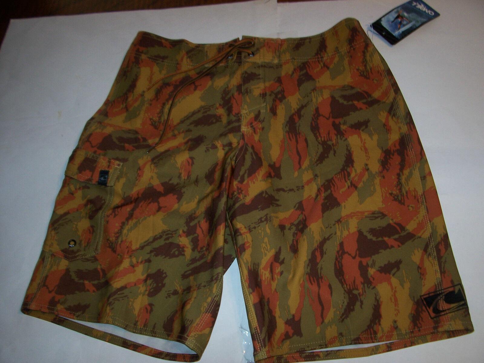 New O'NEILL  orange brown camo camouflage board shorts swim sz 32