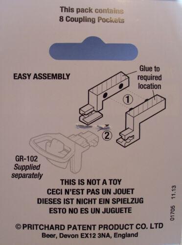 PECO GR-103 8 x NEM 355 Pockets to Fit GR-102 Narrow Gauge Easy Assemby Couplers