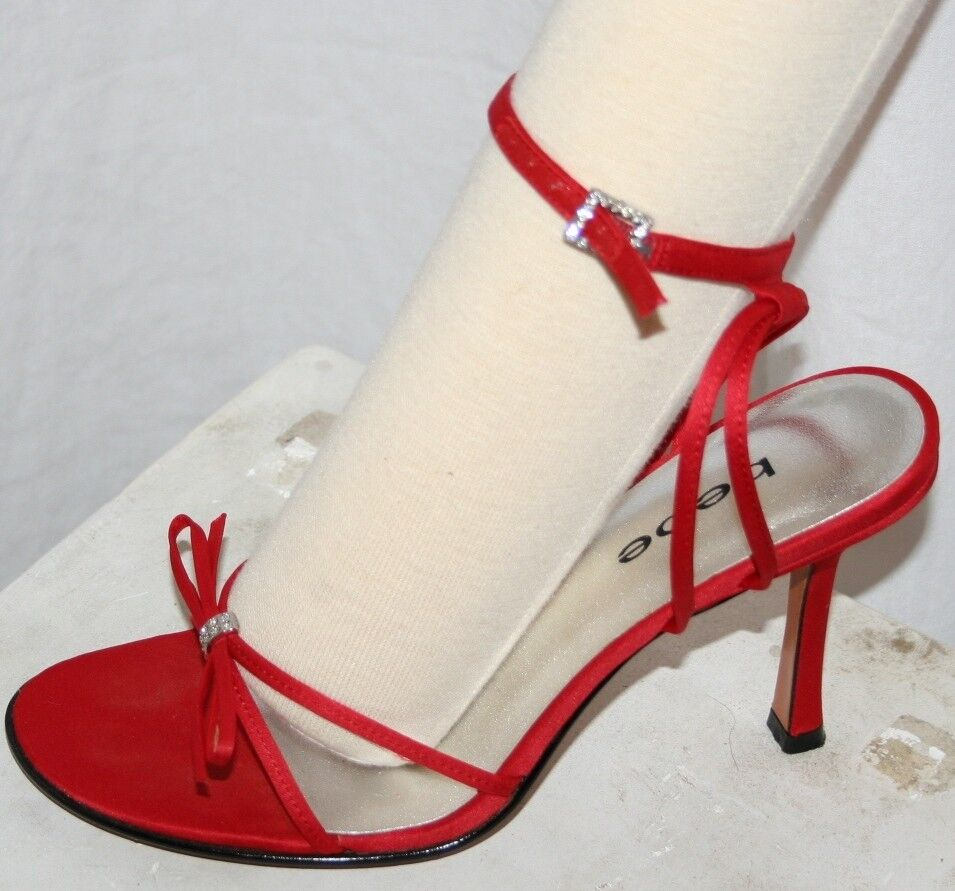 BEBE EYE CANDY SHINY RED SATIN PUMPS luscious SEXY STRAPPY SANDALS SLIP ON 6.5