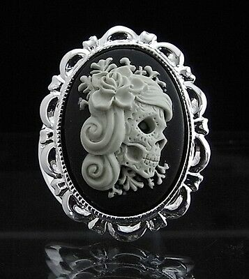 Silver Plated Sugar Skull Lady with Flowers Cameo Scarf Clip