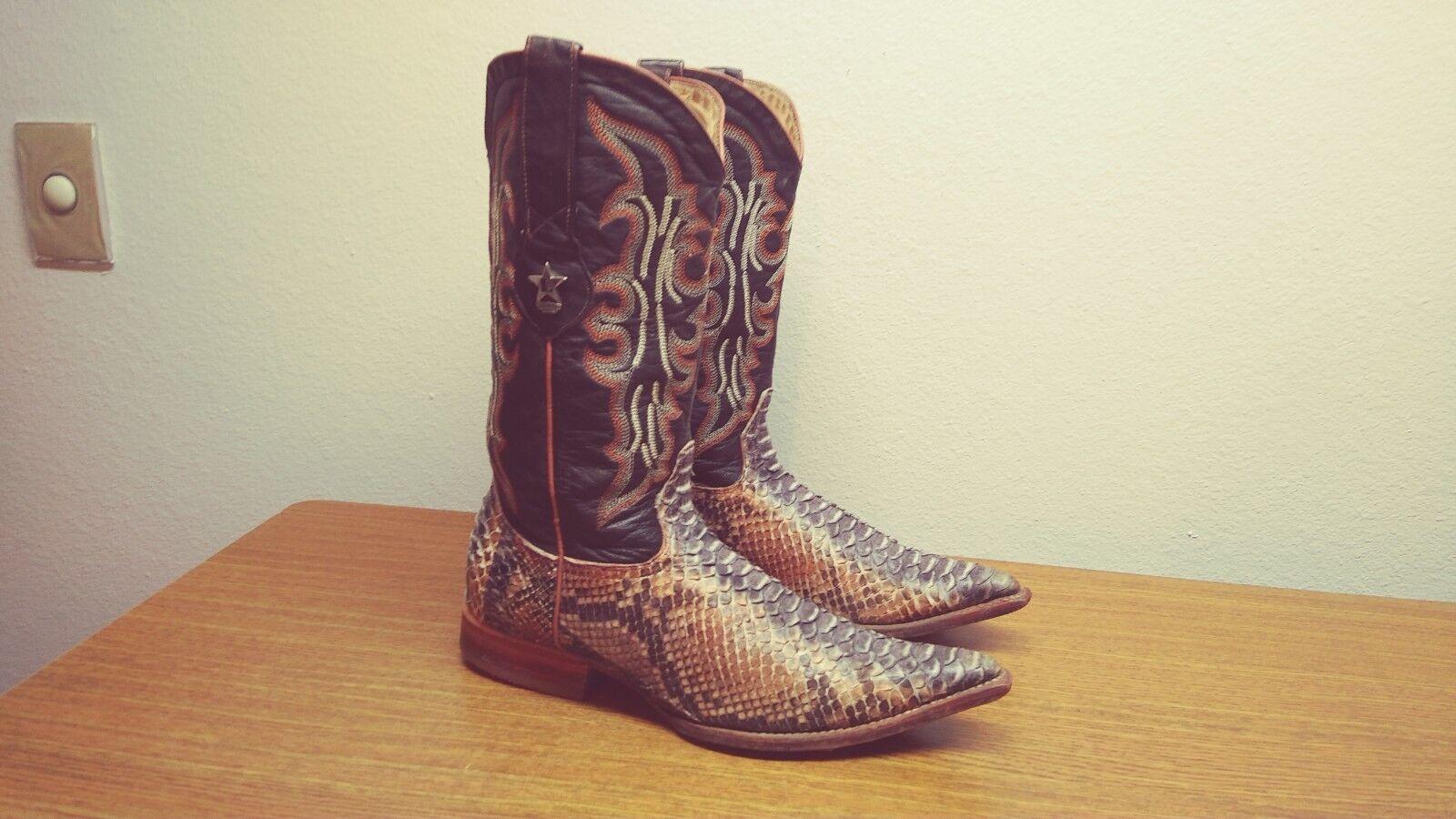 Homme 8 EE Los Altos Cognac marron Genuine Python Peau De Serpent Western Cowboy bottes