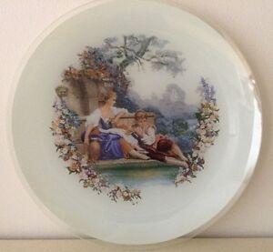 Vintage-Chance-Glass-Fragonard-Romantic-Couple-Plate-25cm-Matches-Limoge