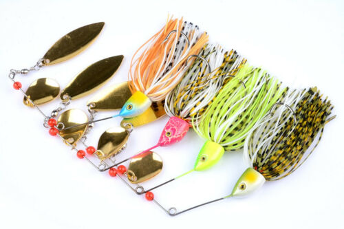 4pcs Spinnerbait Bait Buzzbait Fishing Lures Bass Jig Tackle Squid Spinner 24g