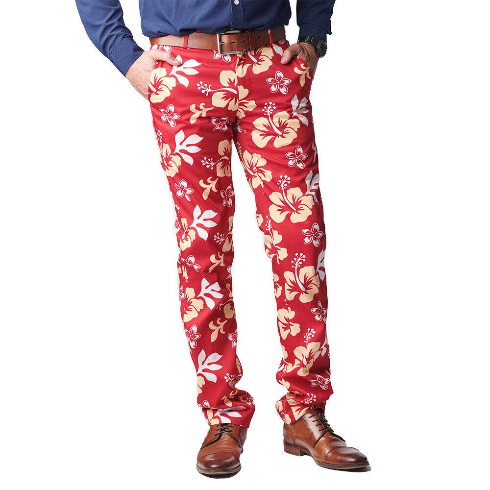 The Big Kahuna Red Hibiscus Floral Print Hawaiian Pants