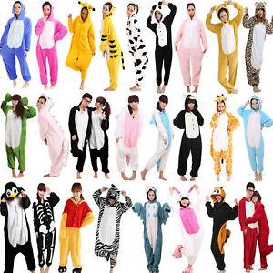 Hot Unisex Fancy Dress Cosplay Onesy Adult Hooded Pyjamas Animal Loungewear Uk Ebay