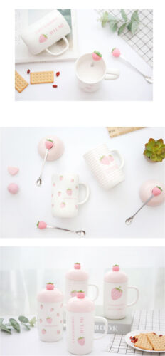 Strawberry Ceramic Mug Coffee Milk Water Cup Creative Home Office With Lid+Spoon