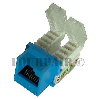 Blue CAT5e Keystone RJ45 Ethernet Network 110 Toolless Tool-Less Snap-In Jack