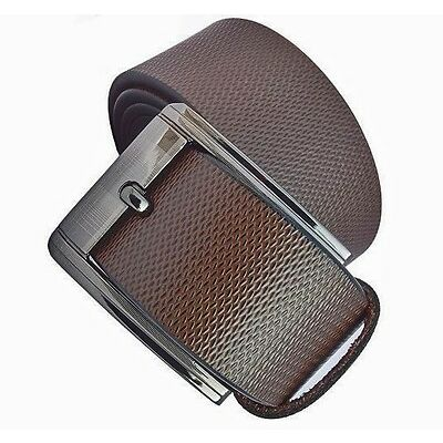 Mix of leather brown men pin buckle belt with self textured