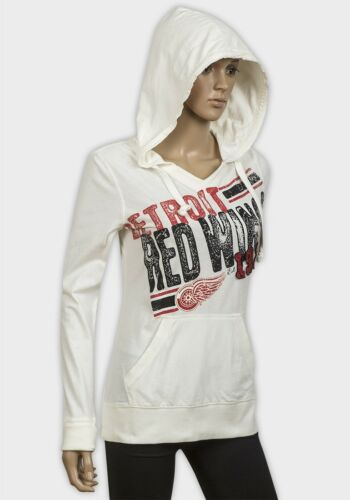 NEW LADIES CREAM GRAPHIC DETROIT RED WINGS 1326 100/% COTTON HOODIE SIZE S-M-L-XL
