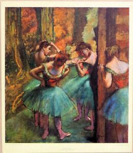 Edgar Degas Red & Green Ballet Dancers Lithograph 26-3/4 x 23