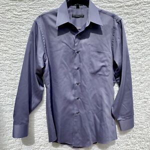 GEOFFREY-BEENE-Fitted-Men-039-s-Wrinkle-Free-Dress-Shirt-Gray-M-15-32-33