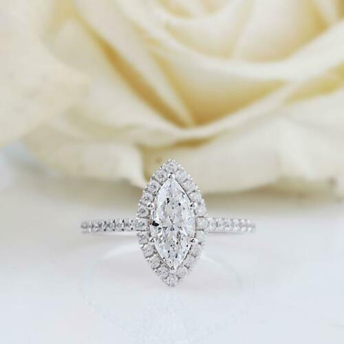 Engagement /& Wedding Ring Halo Certified 1.58 Ct Marquise Diamond 14K White Gold