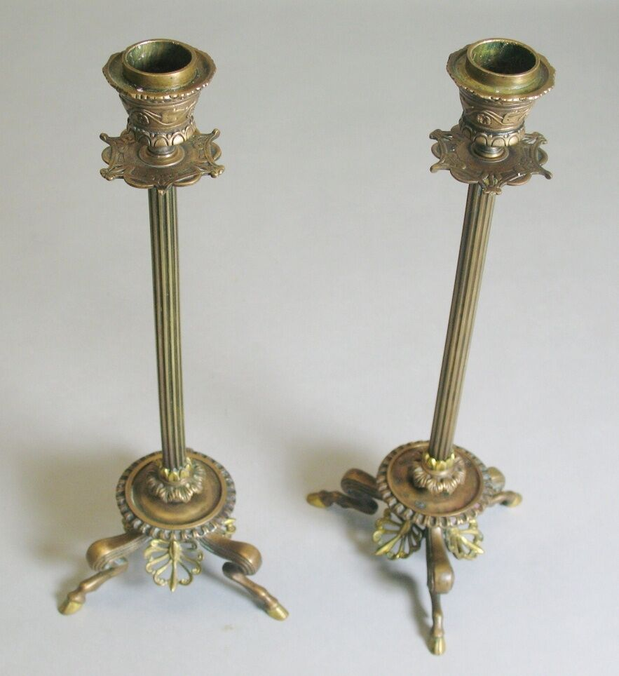 Fine 19th C. BARBEDIENNE FRENCH 12  Bronze Candle Holders  c. 1870  antique
