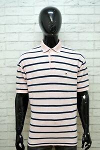 TOMMY-HILFIGER-Maglia-a-Righe-Uomo-Polo-Taglia-2XL-Camicia-Manica-Corta-Shirt